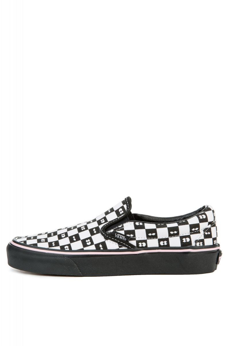 The Vans x Lazy Oaf Women s Classic Slip-On Eyeballs in Checkerboard ... 6863c2e32d