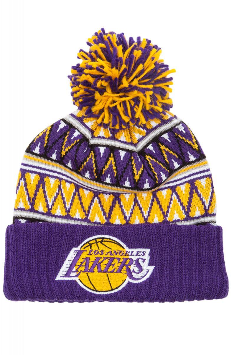 f6aa8849b53 Mitchell   Ness Hat LA Lakers Tribal Hi 5 Pom Beanie Multi