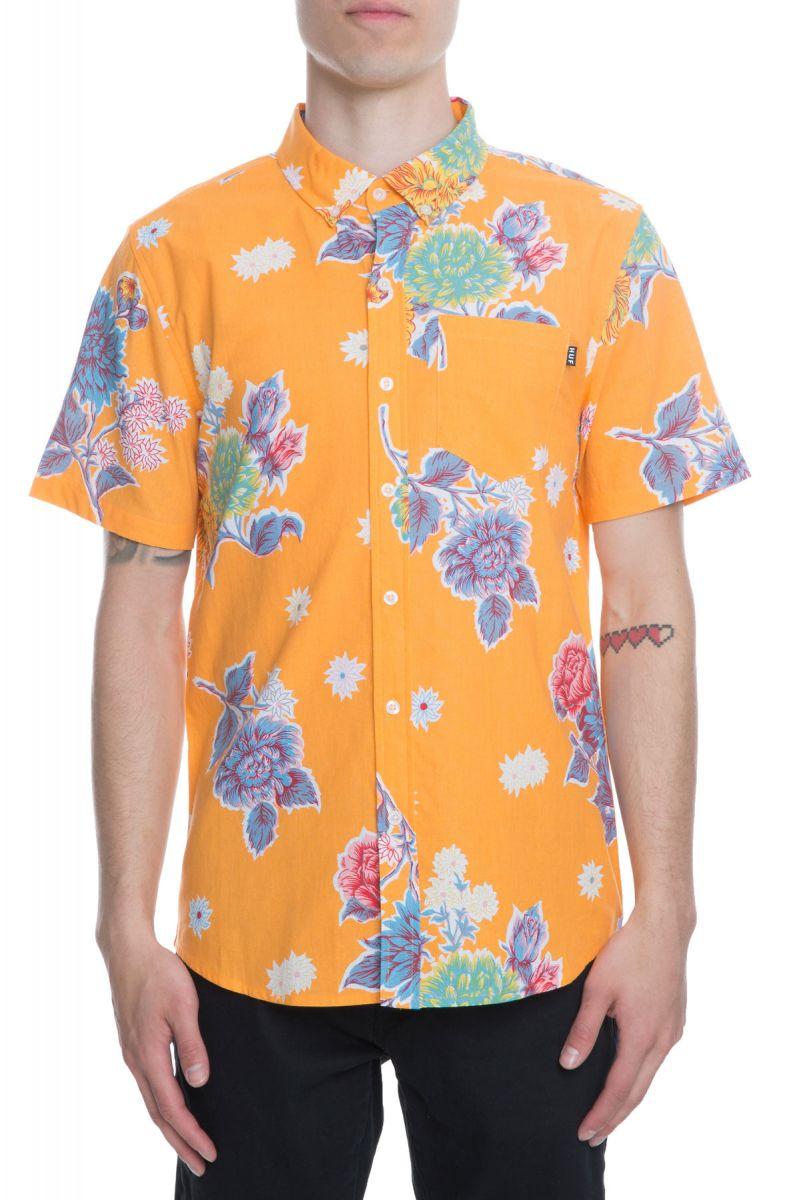 37dc019e27ce9 HUF Shirt Botanica Floral Print Cantaloupe Floral Tellow