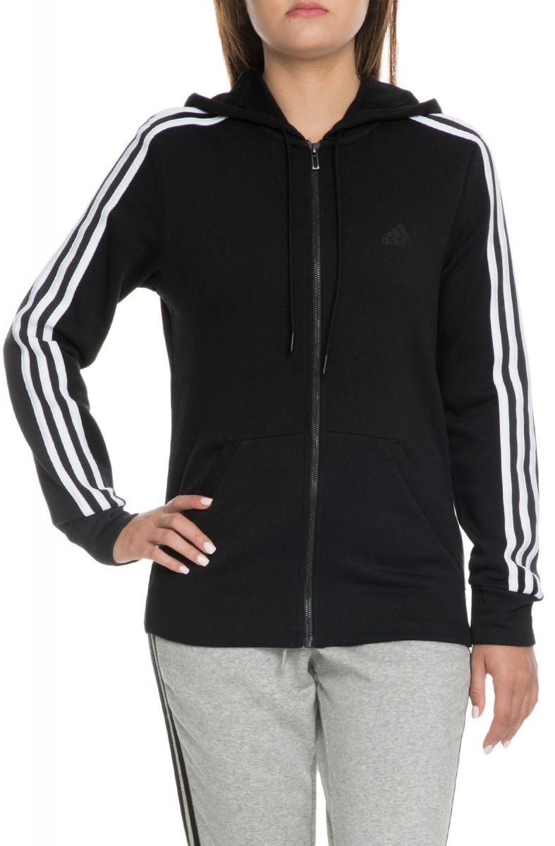 Adidas Hoodie Womens Co Fl 3 Stripes Full Zip Black White-2367