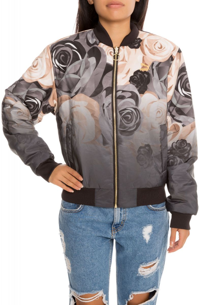c29846d653c6 Puma Jacket Puma x CAREAUX Rev. Bomber Puma Black and Flower AOP Black