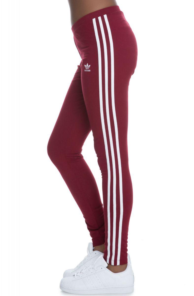 e9bcee0766d0b adidas leggings 3-Stripe Leggings Burgundy red
