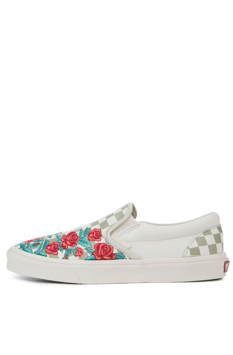 e3f289ac7b The Classic Slip-On DX Rose Embroidery in Marshmallow and Turtledove