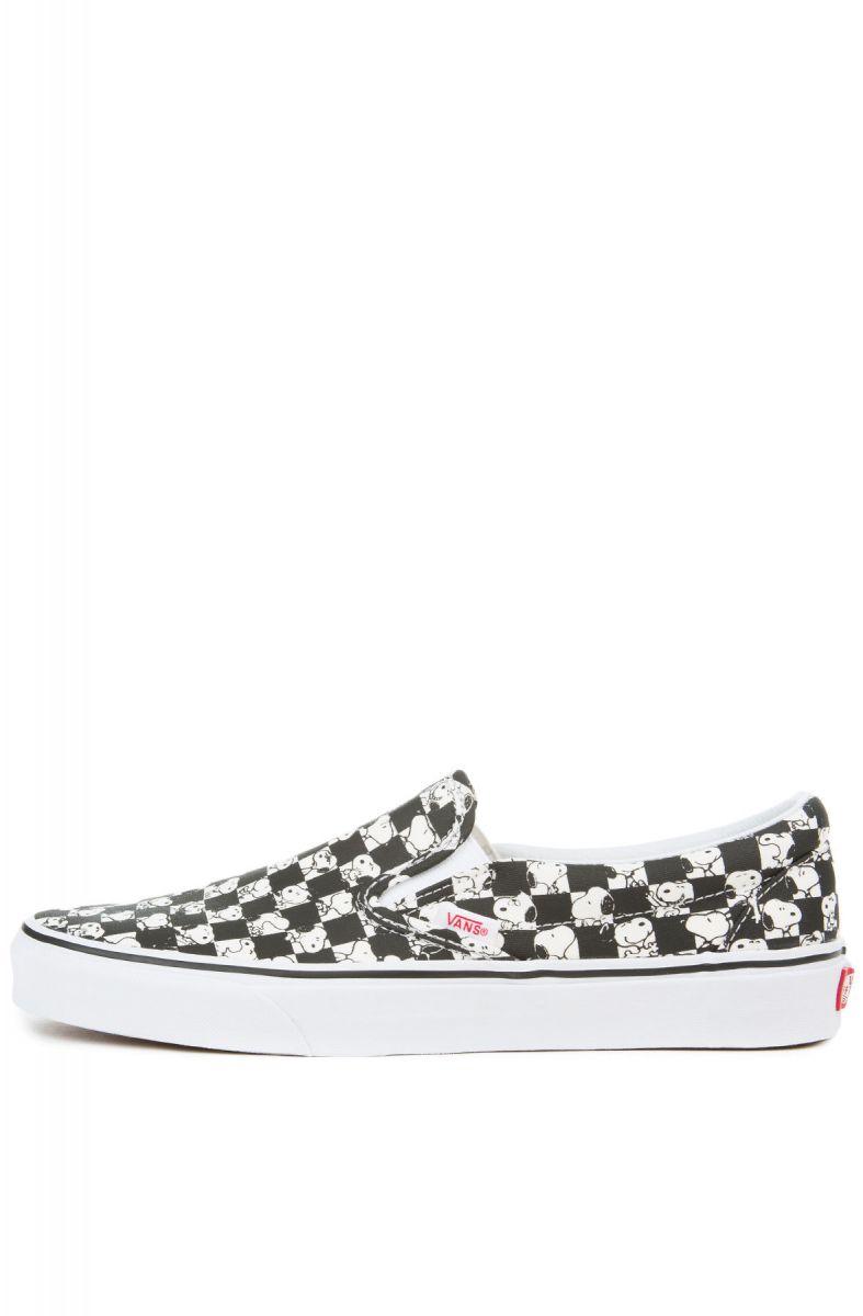 3366d7cdf9 VANS Sneaker x Peanuts Classic Slip-On Snoopy Checkerboard Black White