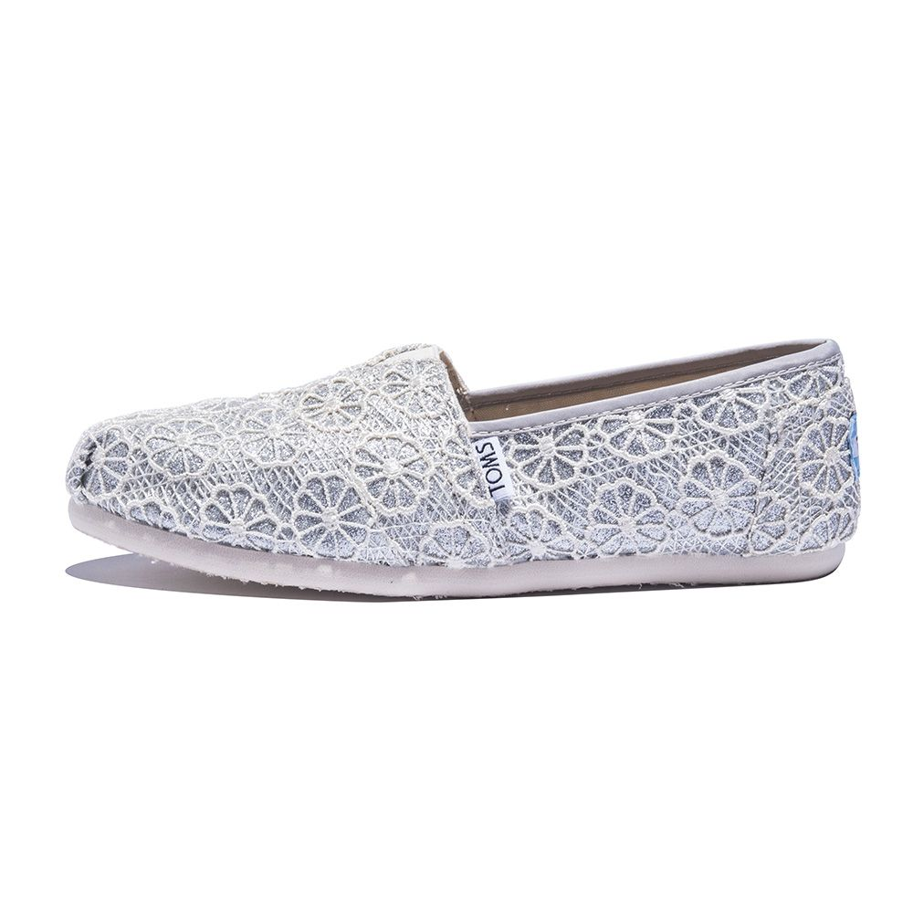 Toms For Women Classic Silver Crochet Glitter Flat