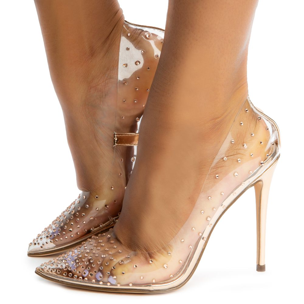 Badass-1 Pointy Toe Clear Pump Heels