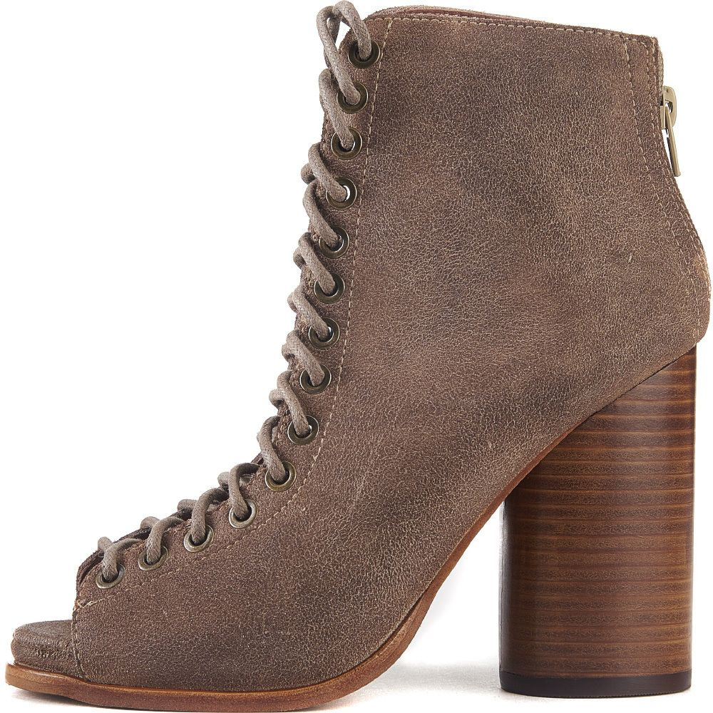09ed6457af2d Jeffrey Campbell for Women  Free Love Taupe Heel Lace Up Booties