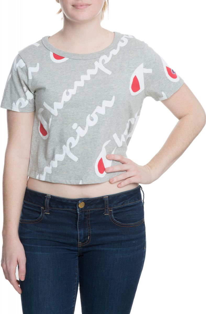 f81a0e15d3 Champion Cropped Tee Women s Printed Oxford Grey White