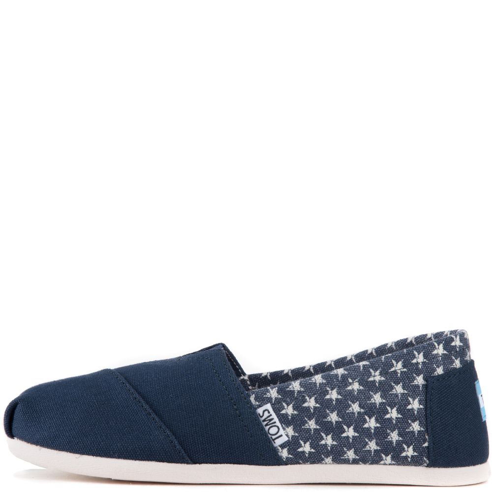 Toms for Women  Classic Americana Navy Canvas Stars Flats f7a93182558