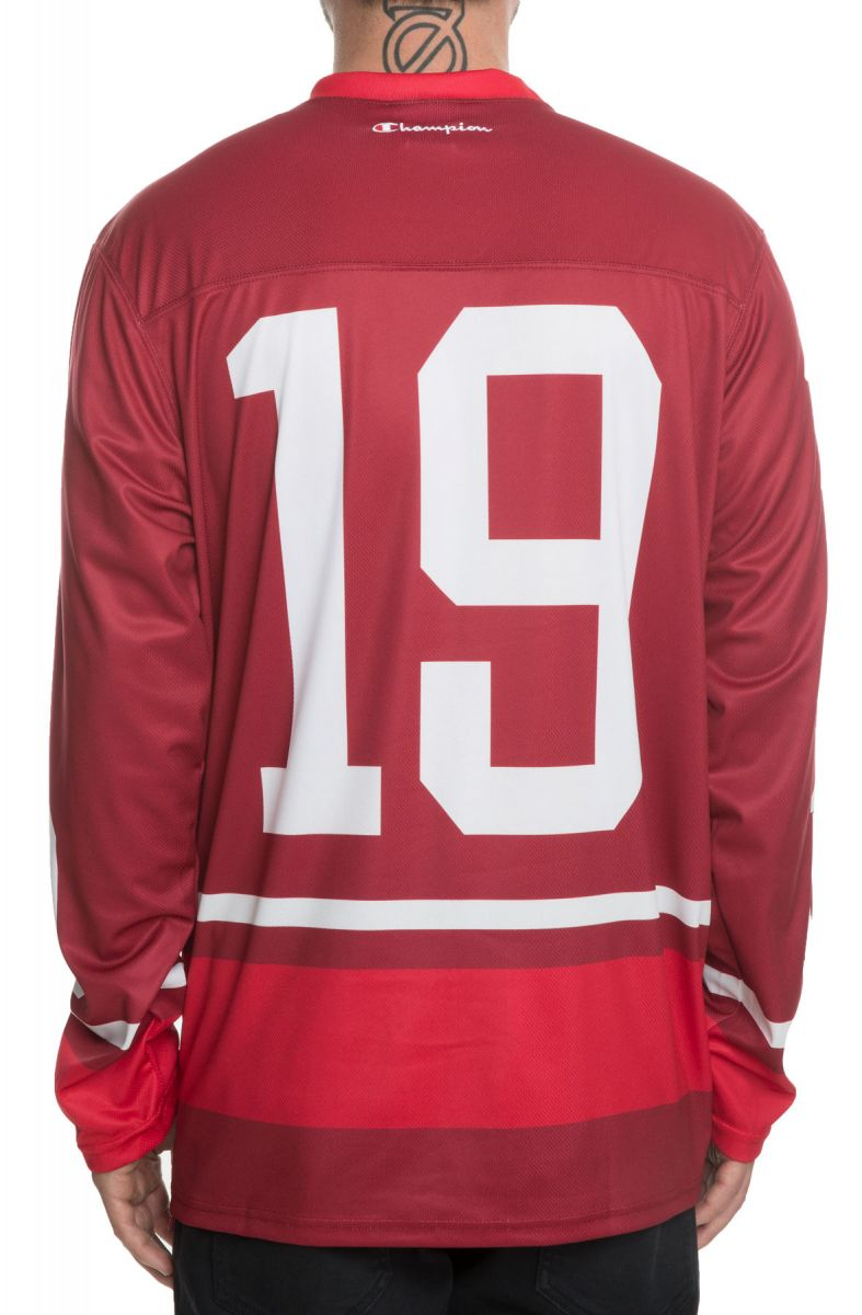 d6d986cd Champion Jersey BIG C Colorblocked Hockey Jersey in Maroon Red