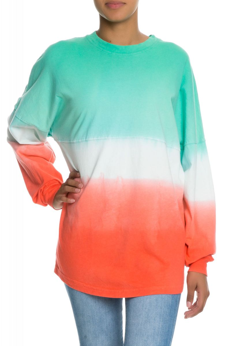 49dd198eb The Tess Women's Long Sleeve Ombre Football Tee in Blue and ...