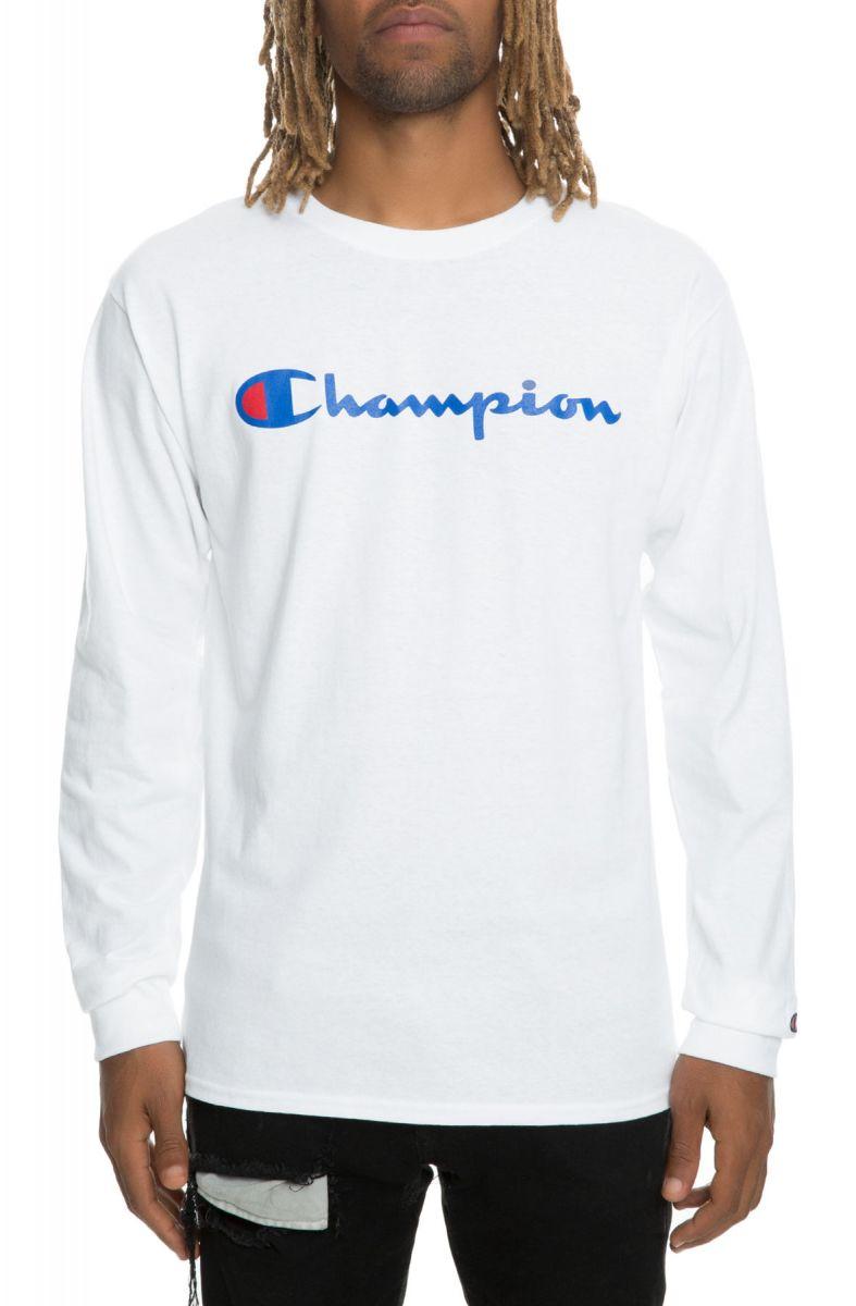 42a35497398 Champion Tee Patriotic Script Long Sleeve White