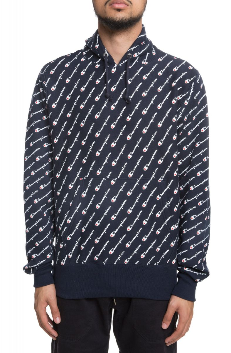 6d1b26a07007 Reverse Weave All Over Print Pullover Hoodie Diagonal Script Navy