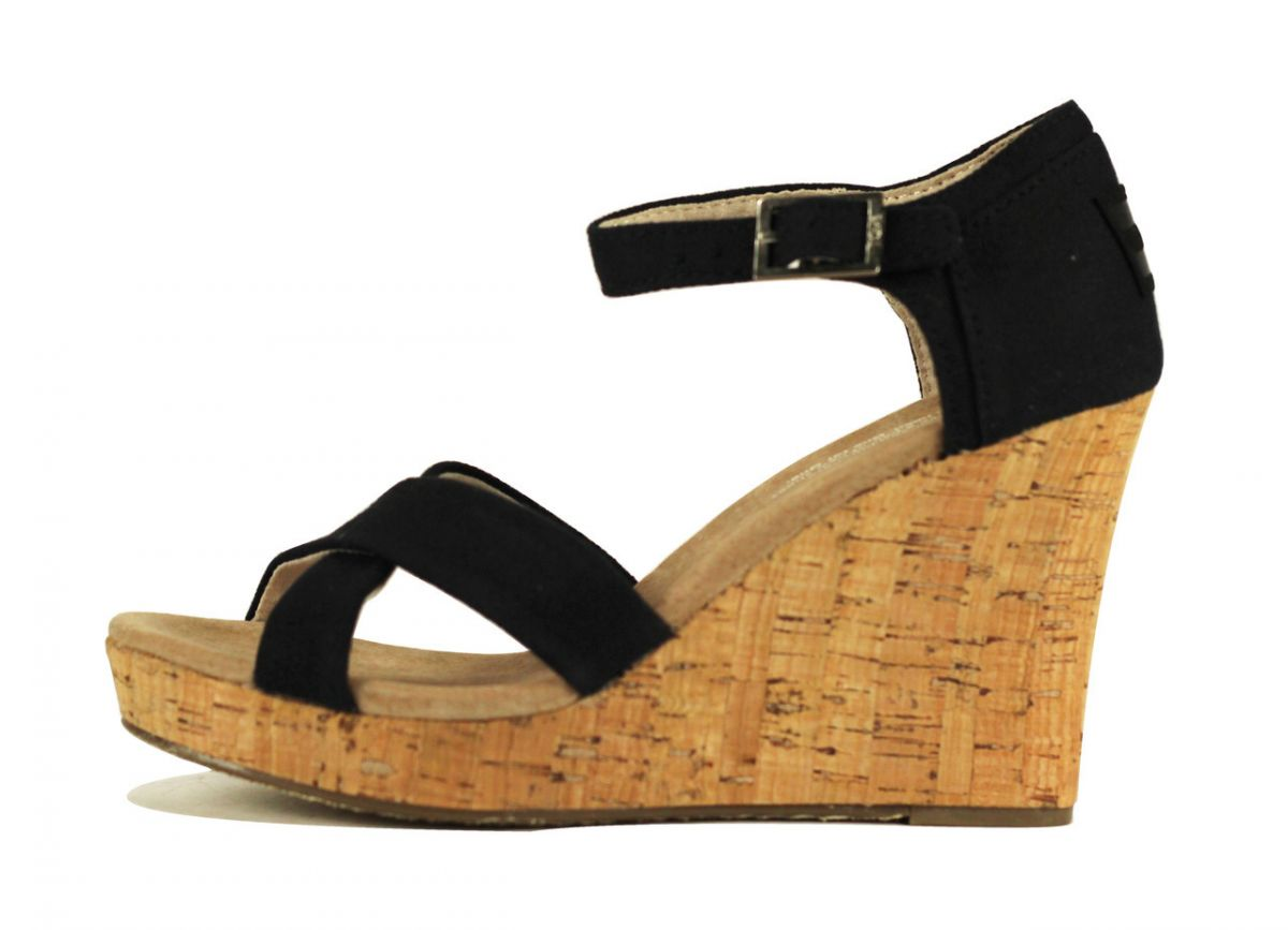 8352d669cf8 Women s Strappy Wedge Black Canvas Cork Wedge