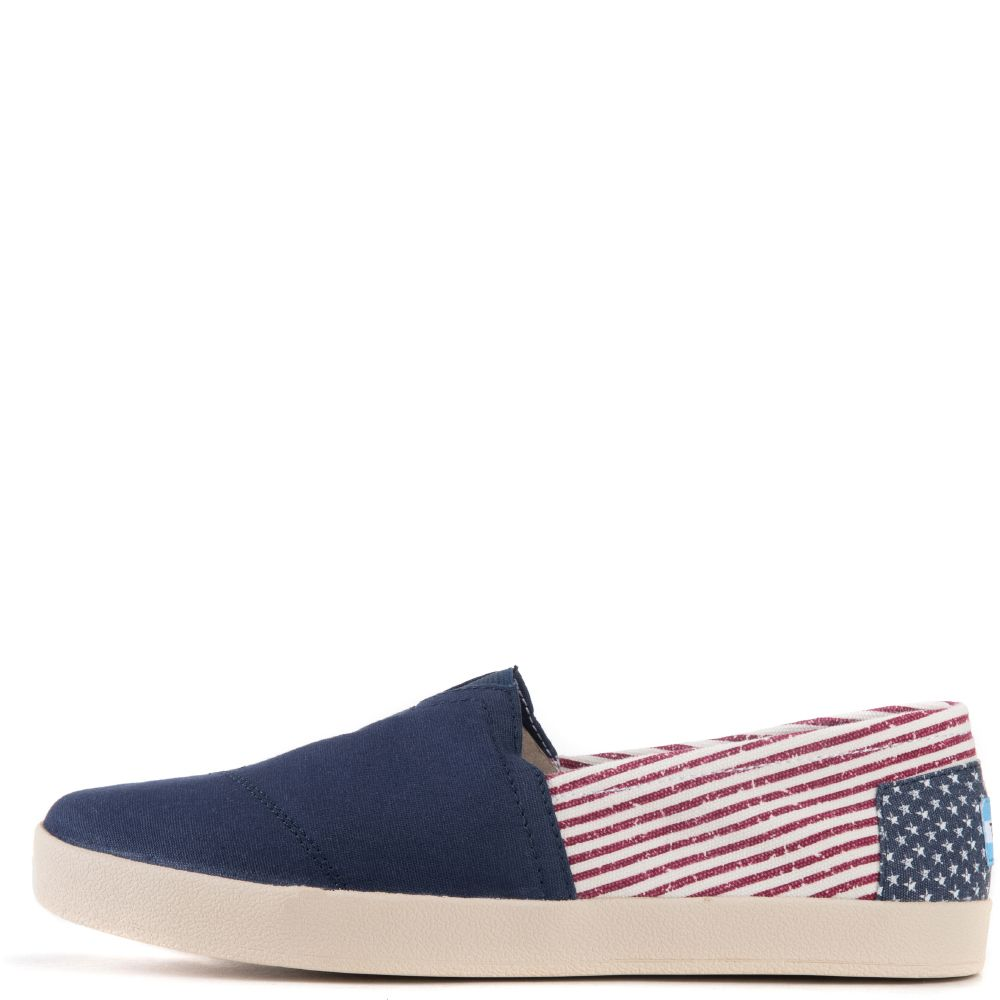 Toms for Men  Avalon Americana Canvas Flag Slip-Ons Blue ... c906acbeaa