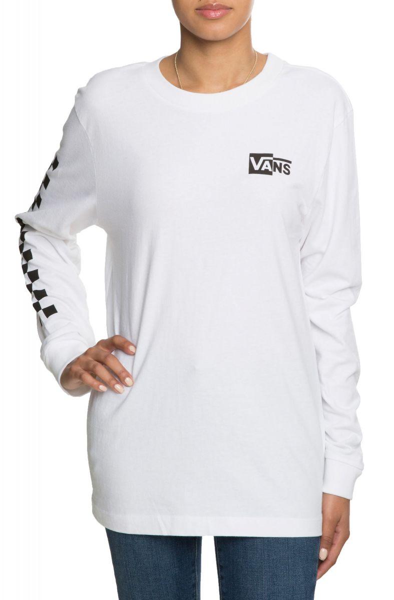 399998b36 Vans Tee Half Checked Long Sleeve Boyfriend White