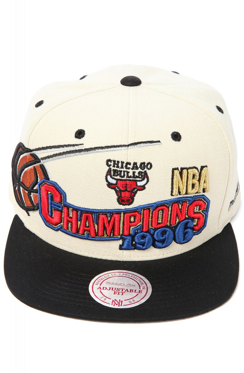 bd2ad45b758 ... netherlands the chicago bulls 1996 nba finals champions snapback cap in  ivory black ce6e9 2737e