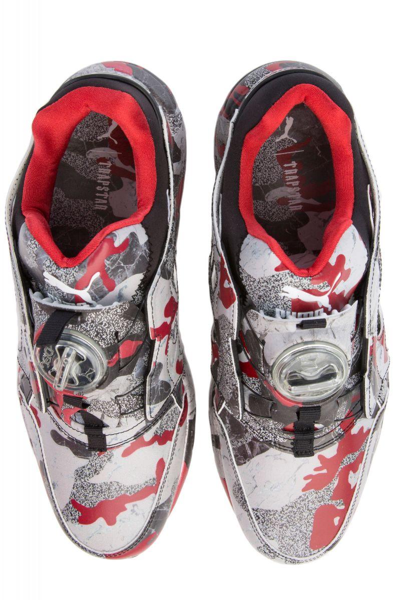 ff6acf5ce9ade ... The Puma x Trapstar Disc Blaze Camo Sneaker in Black, White and  Barbados Cherry ...