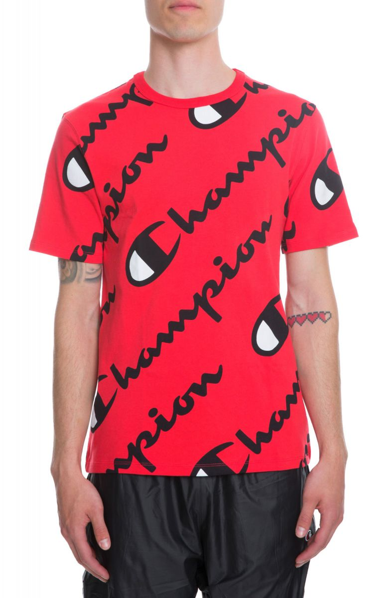 d6643c6c Champion Tee Heritage All Over Explode Script Scarlet Red
