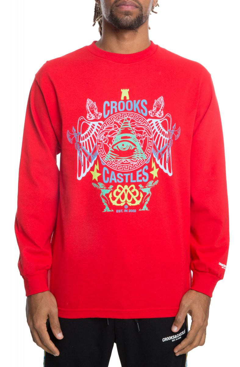The Secret Society Long Sleeve Tee in Red