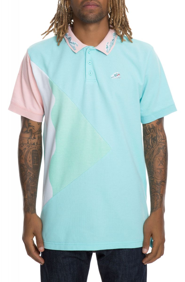1f67bb8f Pink Dolphin Polo TSUNAMI WAVES Bright Teal Green