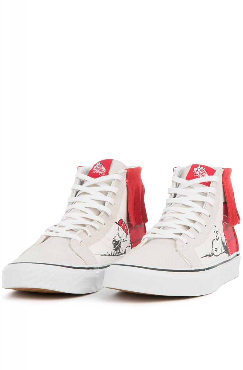 31b740bb02 The Women s Vans x Peanuts Dog House Sk8 Hi Moc in Bone and Red ...