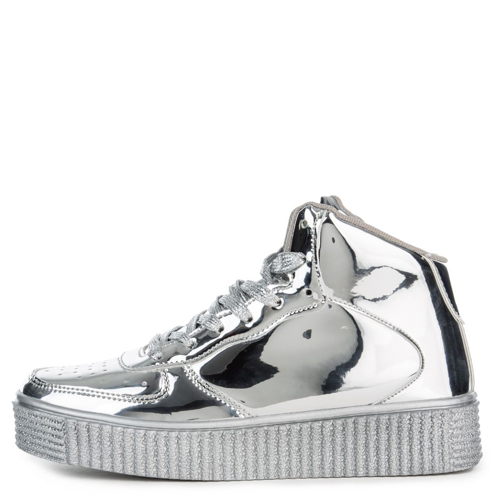 Cape Robbin Polo-5 Women's Silver Sneakers