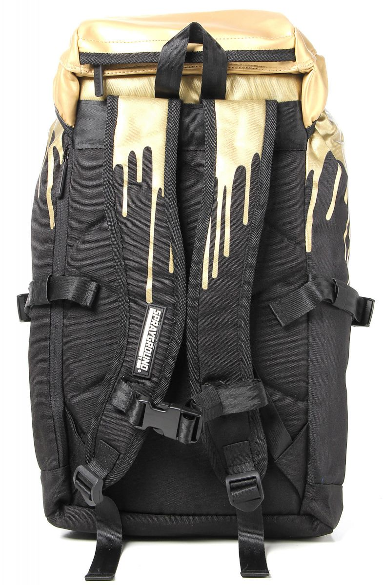 The Sprayground Gold Drips Top Loader Backpack