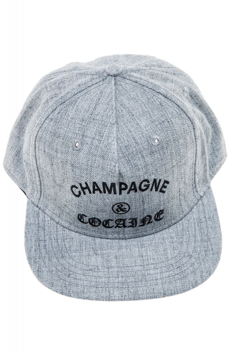 40afef75b5d01 The Champagne   Cocaine Snapback Hat in Speckle Grey