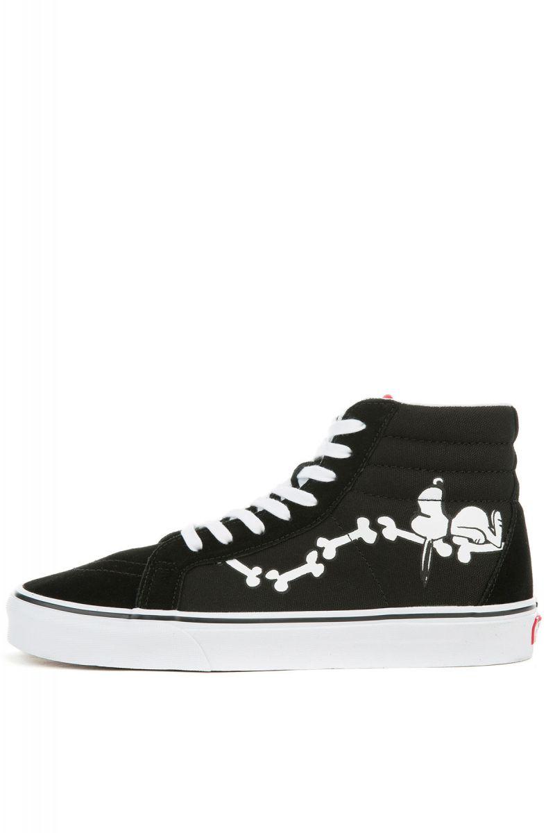 74bd67cfef VANS Sneaker x peanuts Sk8-Hi Reissue Snoopy Bones Black