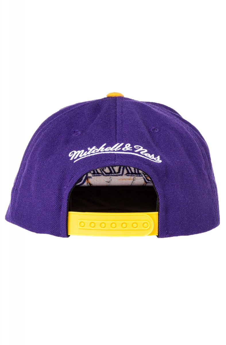 e0ad7383 ... The Los Angeles Lakers XL Logo 2-Tone Snapback Hat in Purple & Yellow  ...