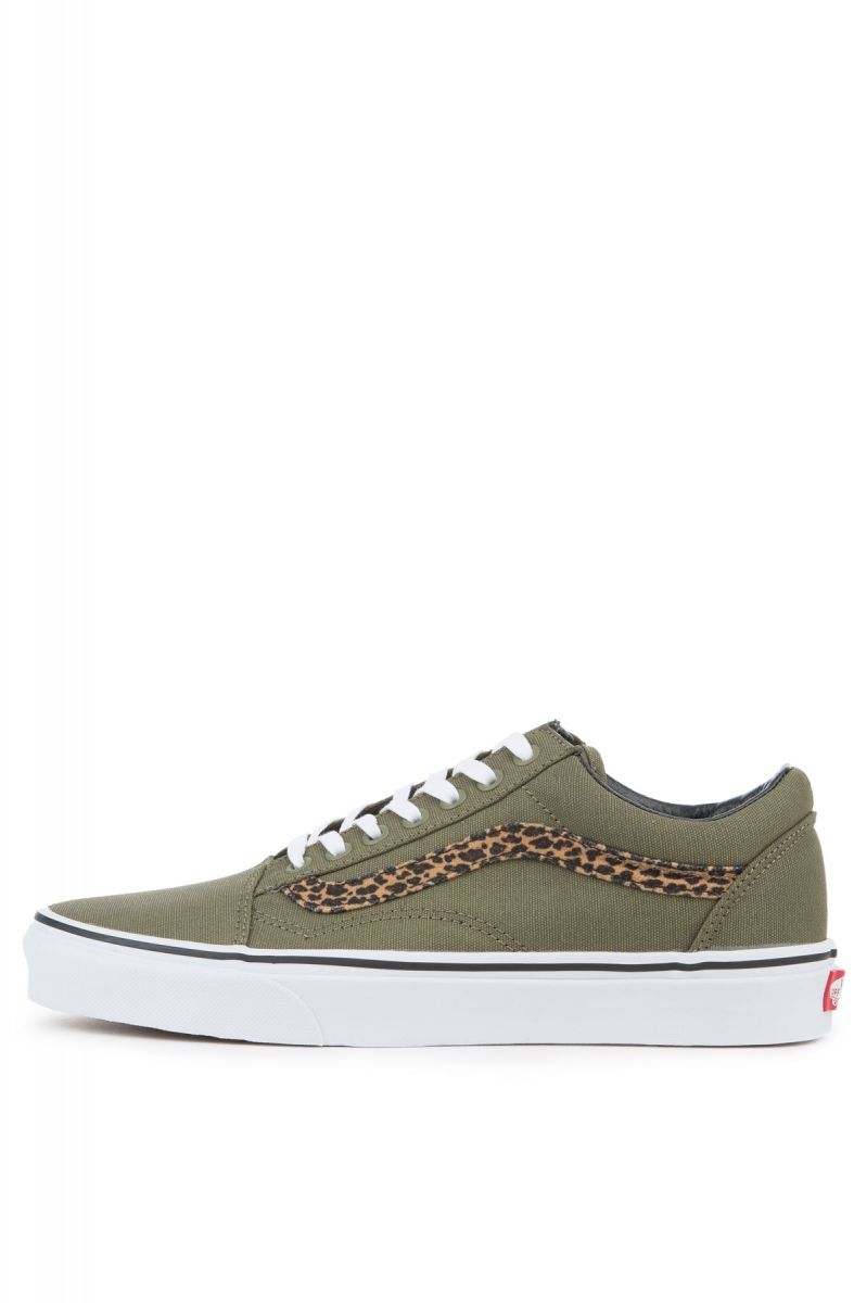 4c51073db18 The Women s Mini Leopard Old Skool in Army Green and True White