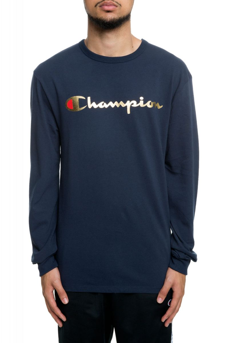 558615082ff2 Heritage Champion Gold Script Long Sleeve Navy