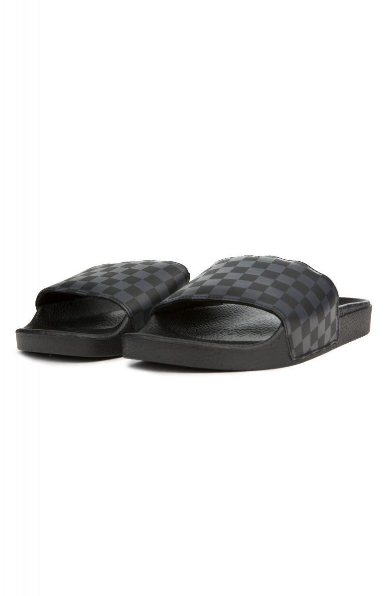 fcbbcb275632d6 ... The Men s Slide-On in Black and Asphalt Checkerboard ...