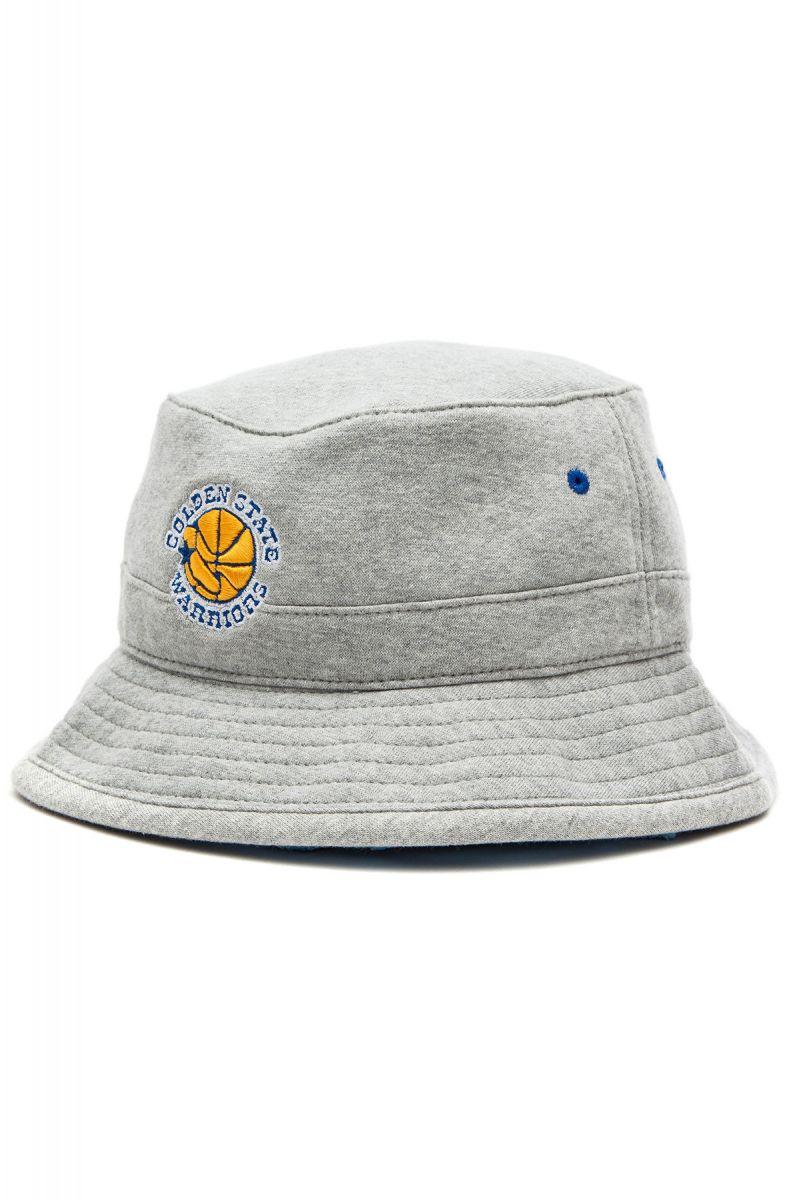 Mitchell   Ness Hat Golden State Warriors Fleece Bucket Grey d8367acd000
