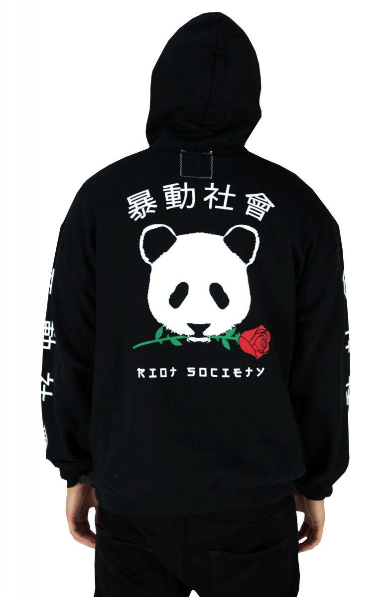 Panda Rose Mens Hoodie