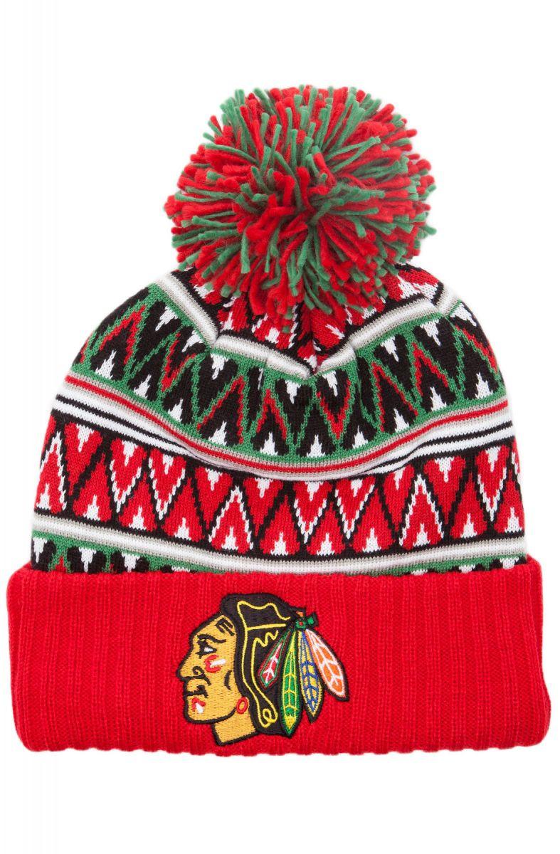 520d1713378 Mitchell   Ness Hat Chicago Blackhawks Tribal Hi 5 Pom Beanie Multi