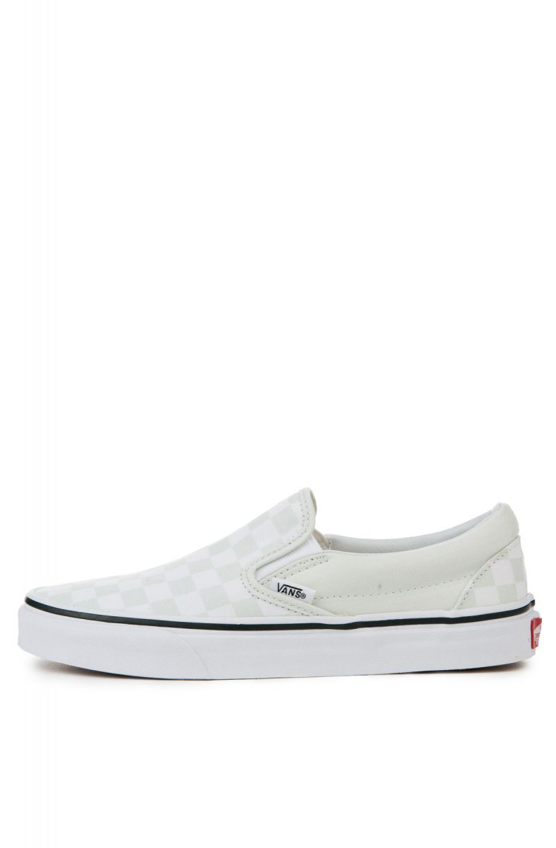 vans classic slip on checkerboard true white