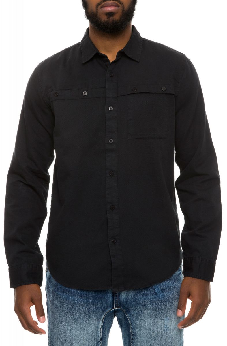 f3750c3bff76 The Shin LS Chambray Shirt in Jet Black