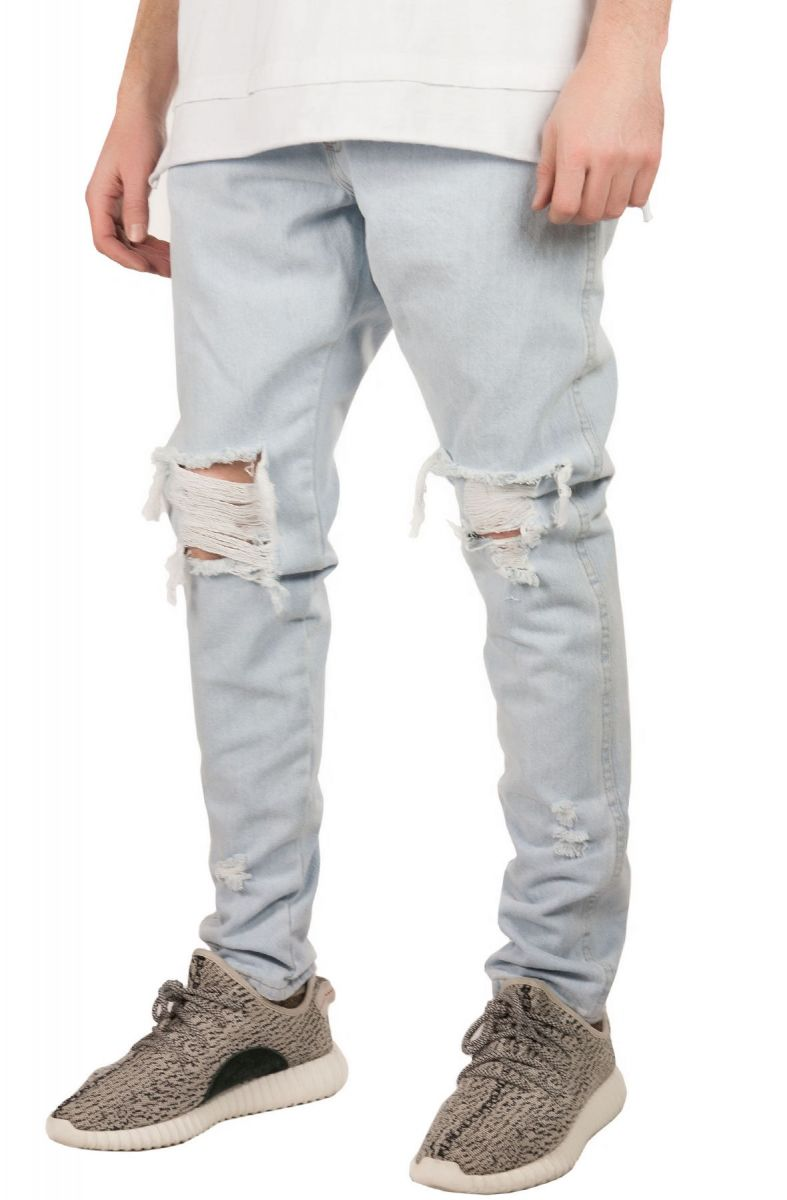18e453fe enslaved Denim Ripped Tapered Bleached Indigo Blue