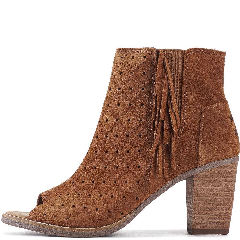 5af0e1e3d27 Toms for Women  Majorca Cinnamon Suede Perforated Fringe Peep Toe Booties  Cinnamon