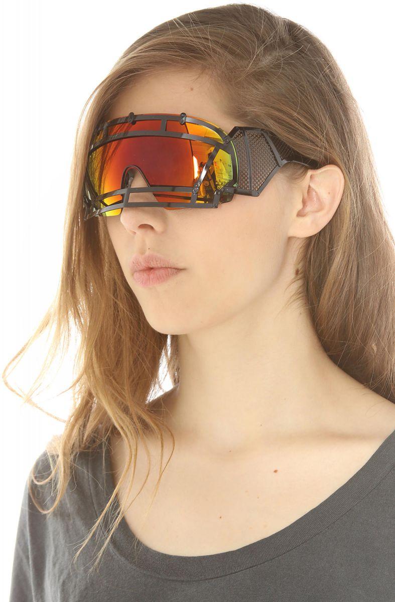 2822710f42c2 ... The KTZ x Linda Farrow Football Helmet Sunglasses in Black Stainless  Steel