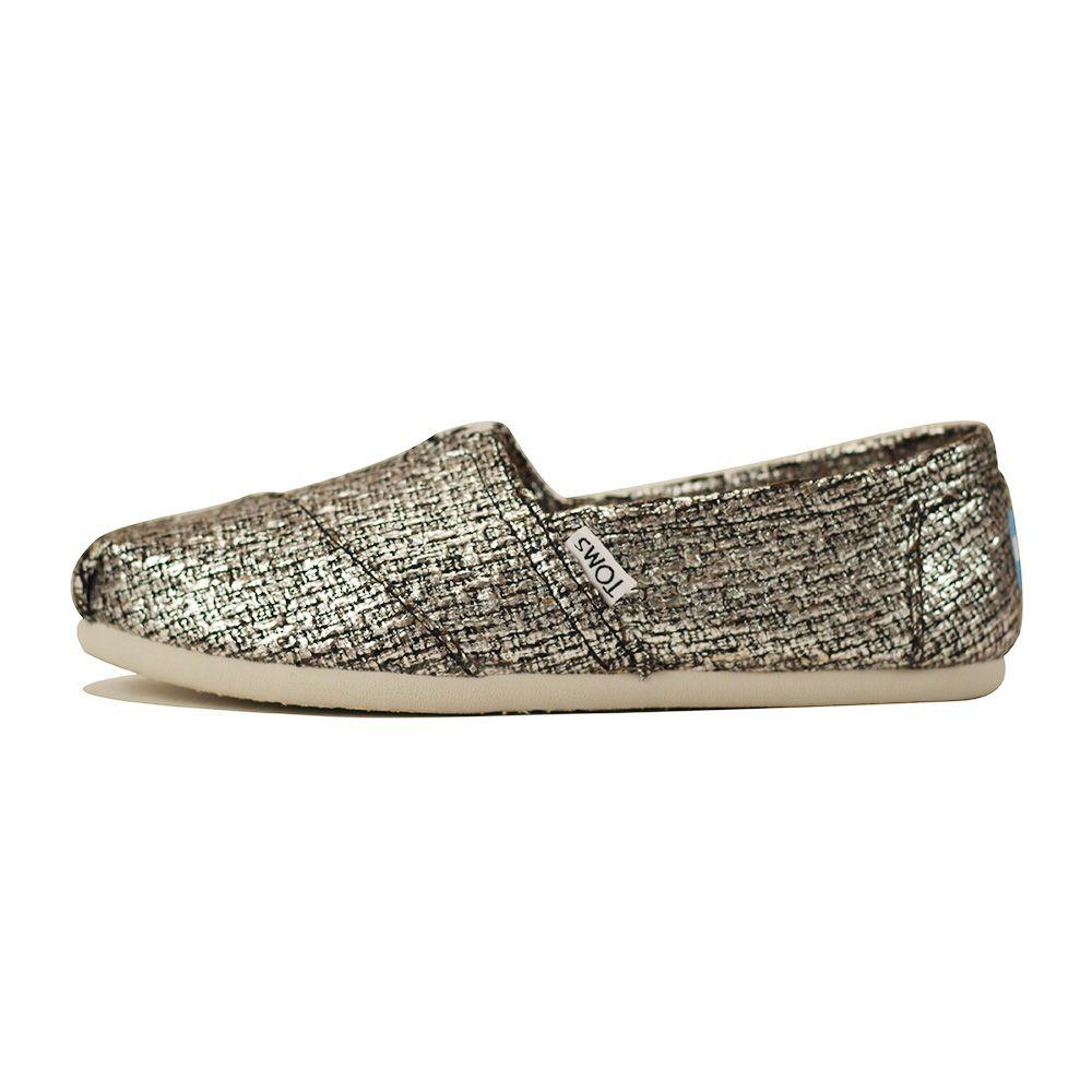Women: Classic Silver Glitter Wool Flat