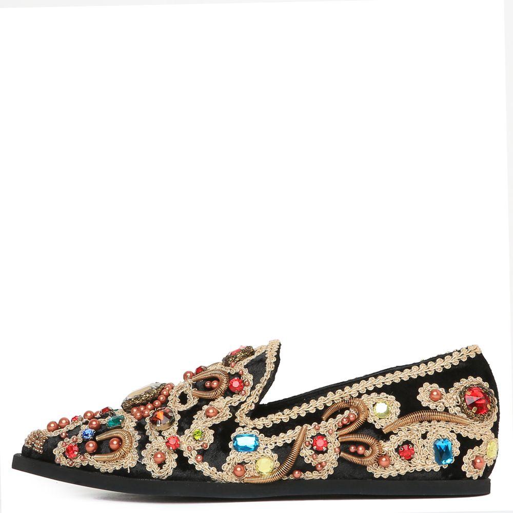 03b93708215 Horatio Black Multi Gold Velvet Loafers