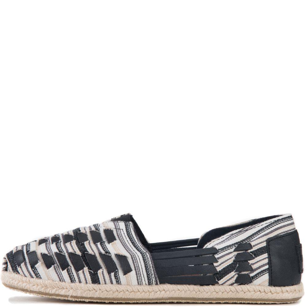 5a00d69678d6d Toms for Women  Huarache Alpargata Black White Woven