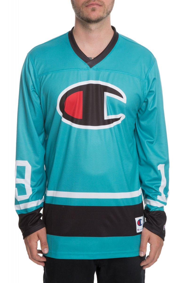 46cb21218a8 Champion Jersey BIG C Colorblocked Hockey Teal Green