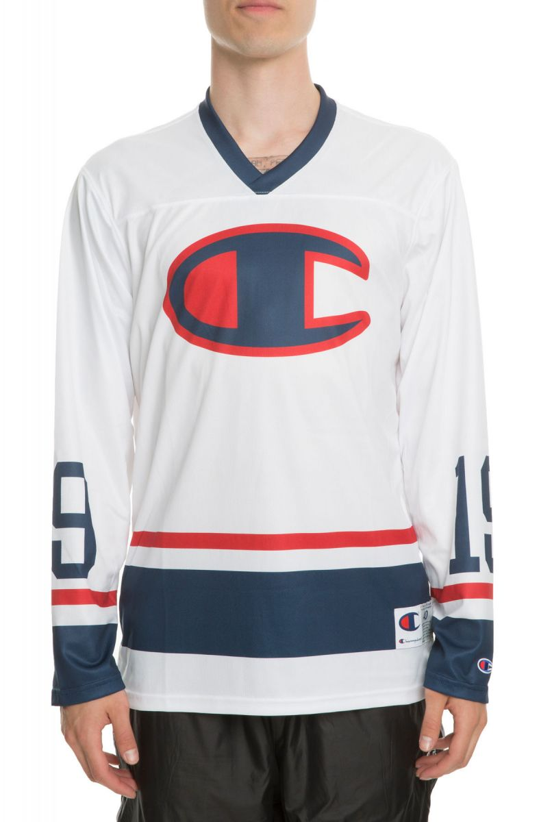 Champion Jersey BIG C Colorblocked Hockey Jersey in White and Navy Blue 5a18b049e