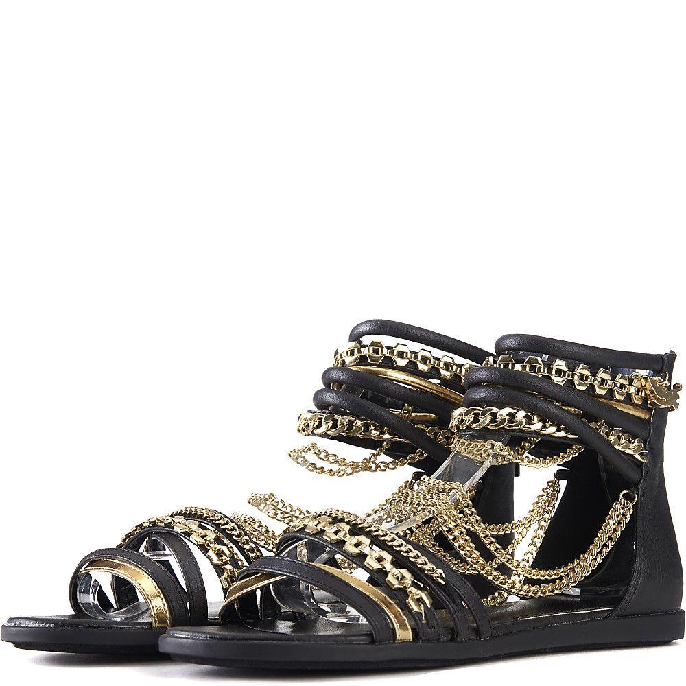 Black Jeweled Flat Shoe