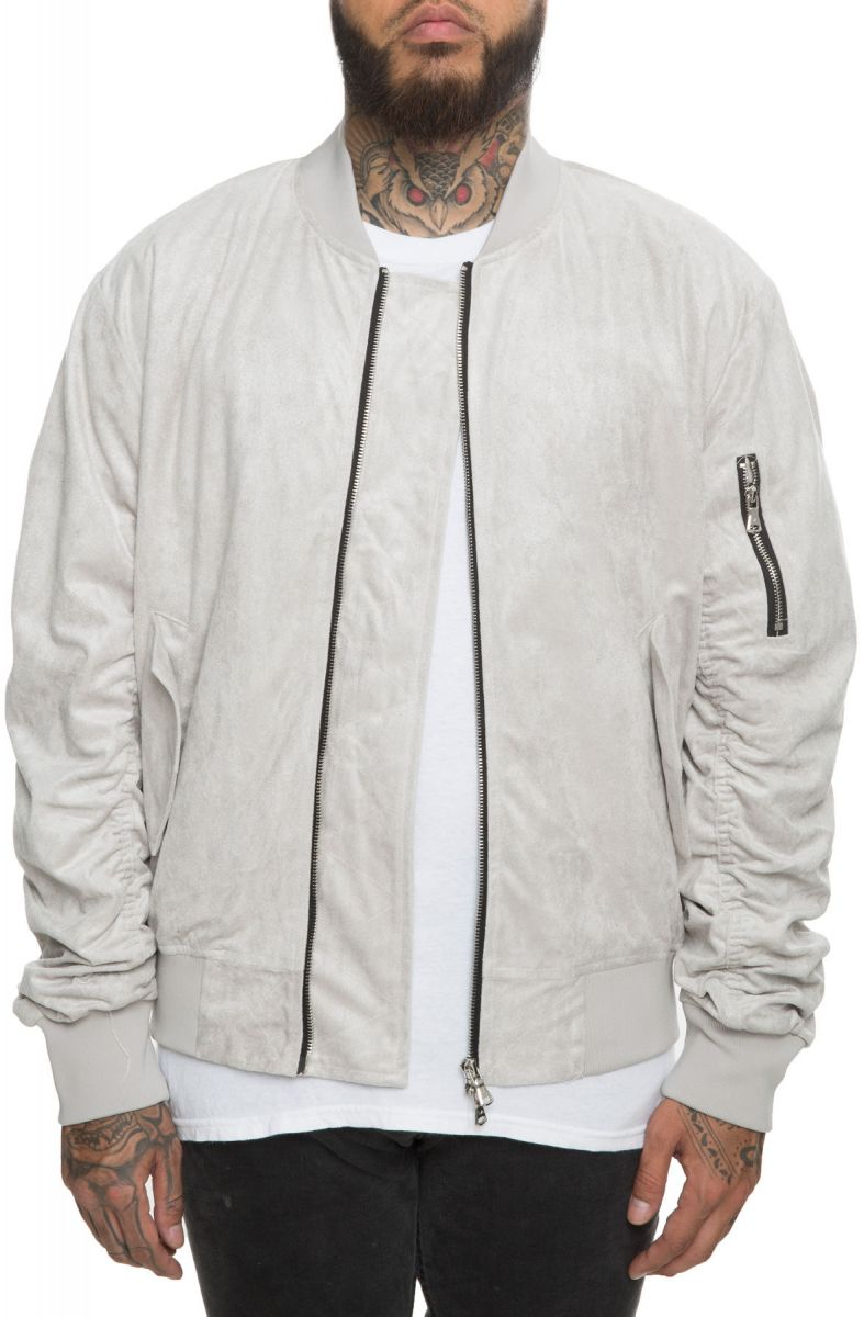 f8e4259e1 The Bird Suede Bomber in Light Grey