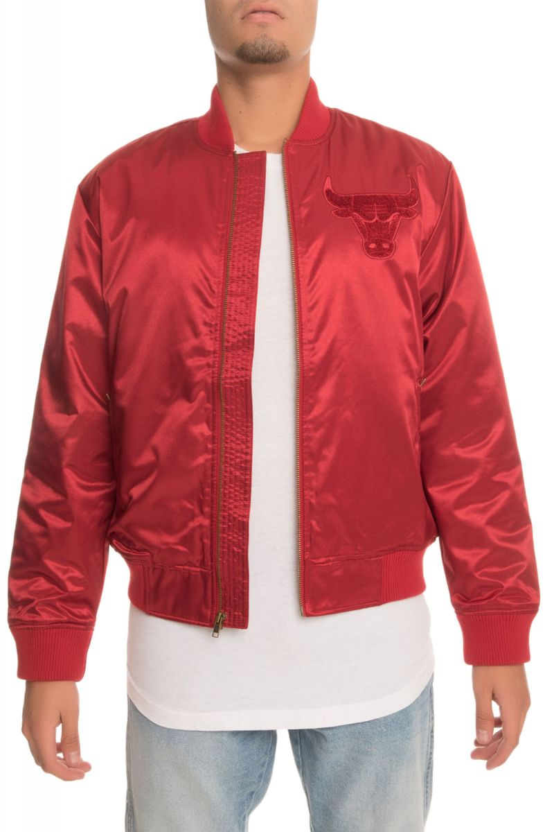 58b9297a408 The Chicago Bulls Satin Bomber Jacket in Red